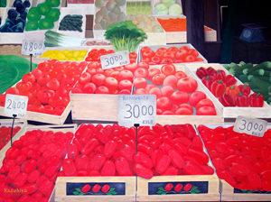 ナポリの八百屋さん 油絵 76X102cm