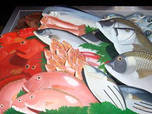 魚河岸の魚屋さん 油絵 76X102cm