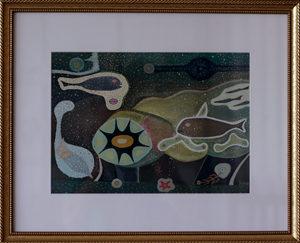 太陽と魚 水彩 26cmx36cm