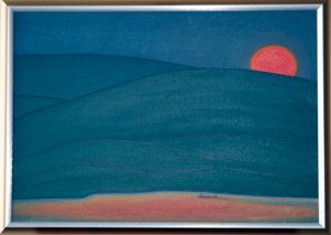 夕暮れの川面 油絵 38cmx54cm