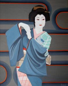 神田祭り (やろうってぇのかい?) 油絵 56cmx72cm