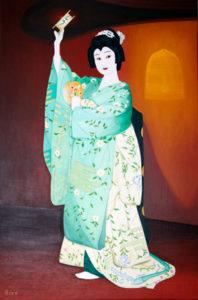 娘道上寺 油絵 61cmx92cm